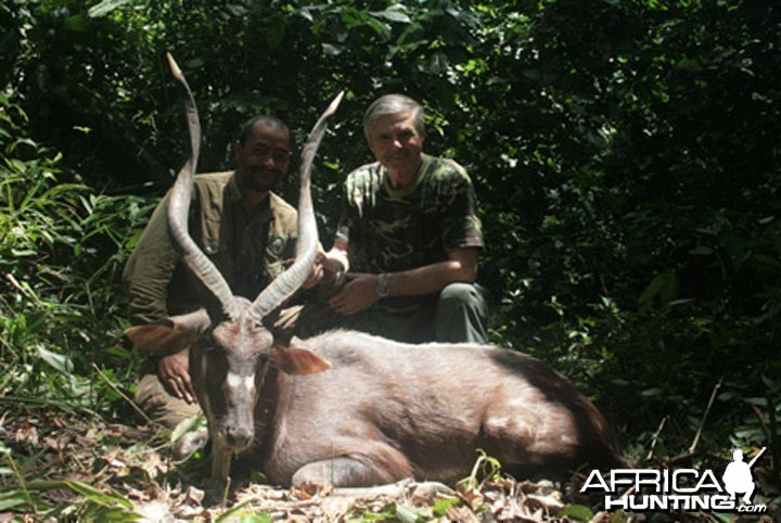 Bela Hidvegi with Forest Sitatunga hunted in Cameroon
