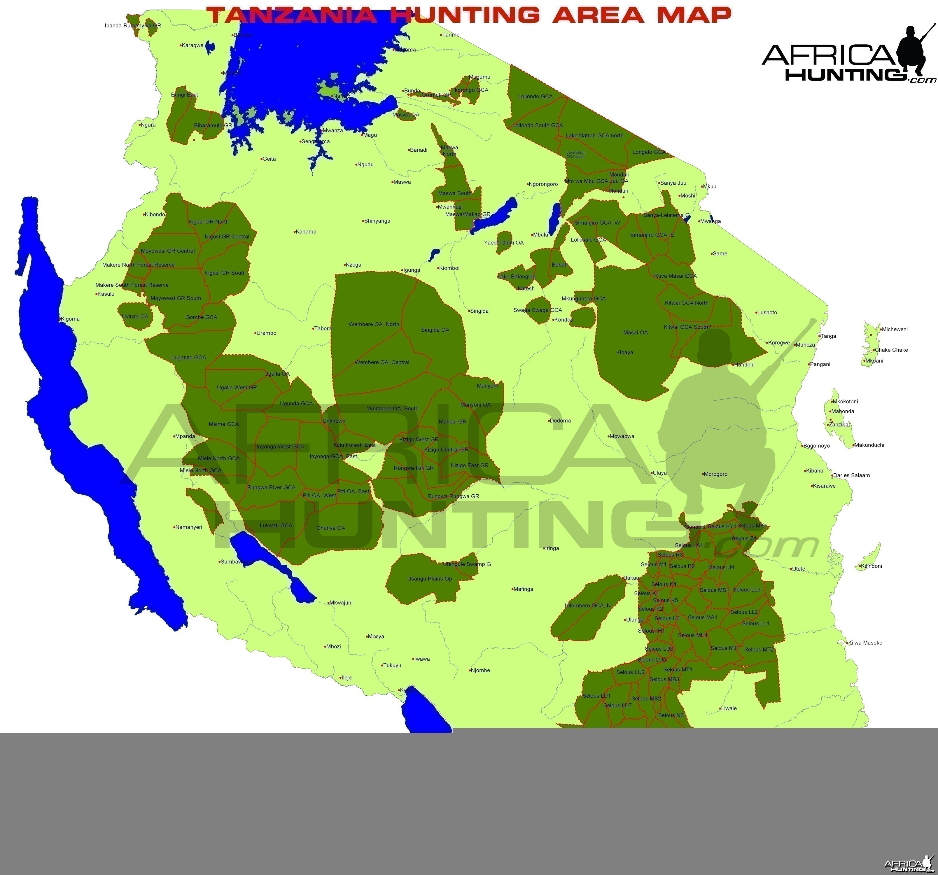 Tanzania Hunting Area Map