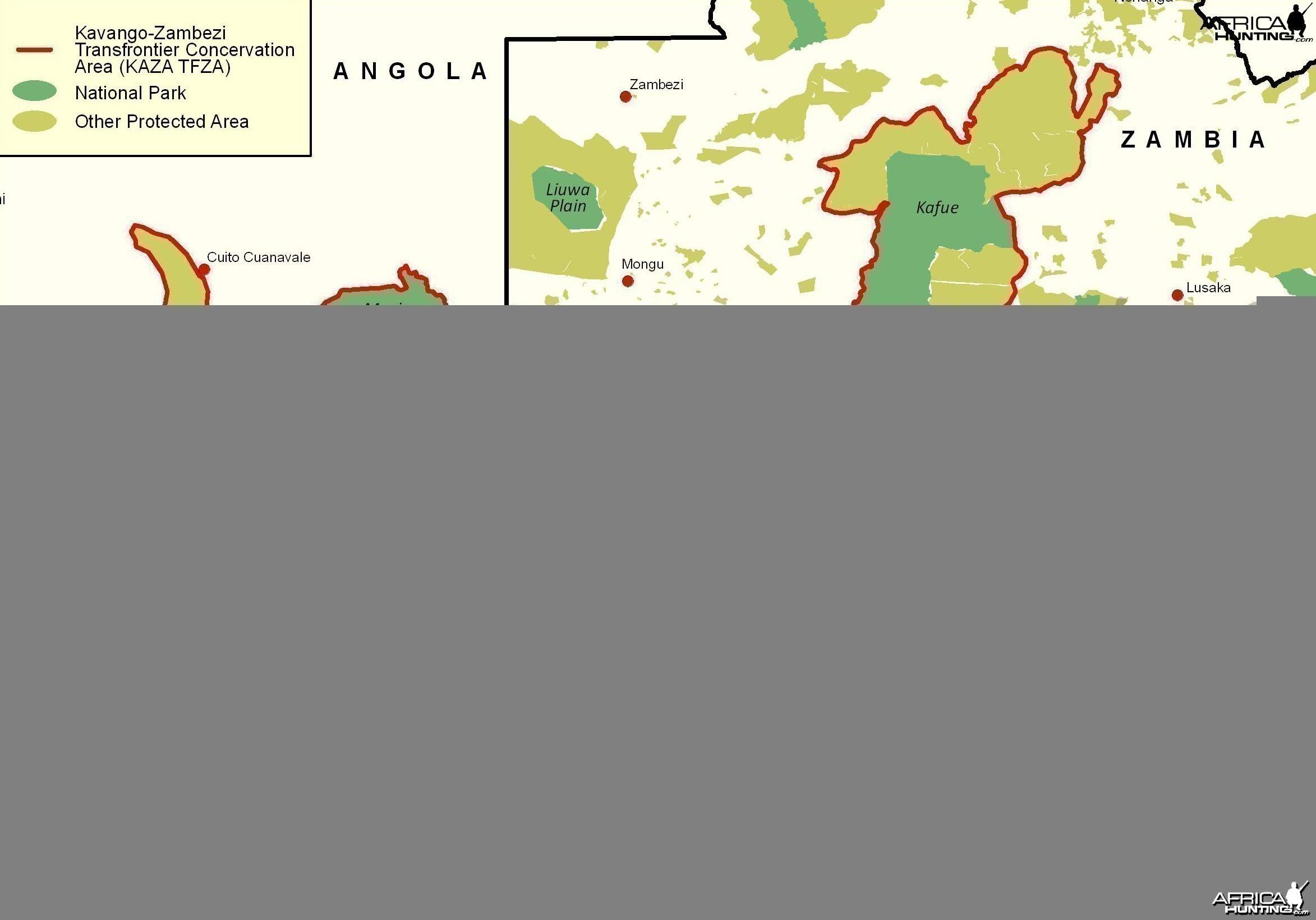 KAZA - Kavango Zambezi Transfrontier Area Map, Namibia