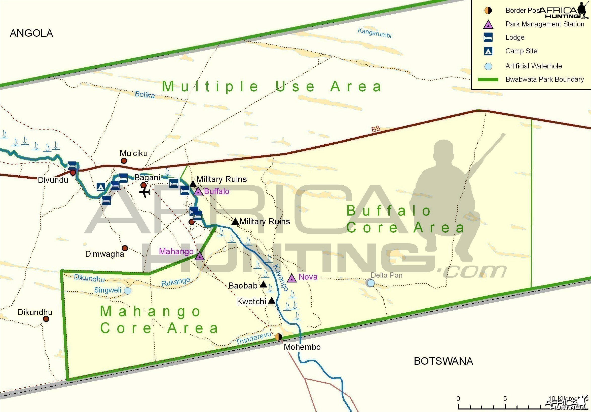 Bwabwata, Buffalo, Mahango Core Areas Map, Namibia