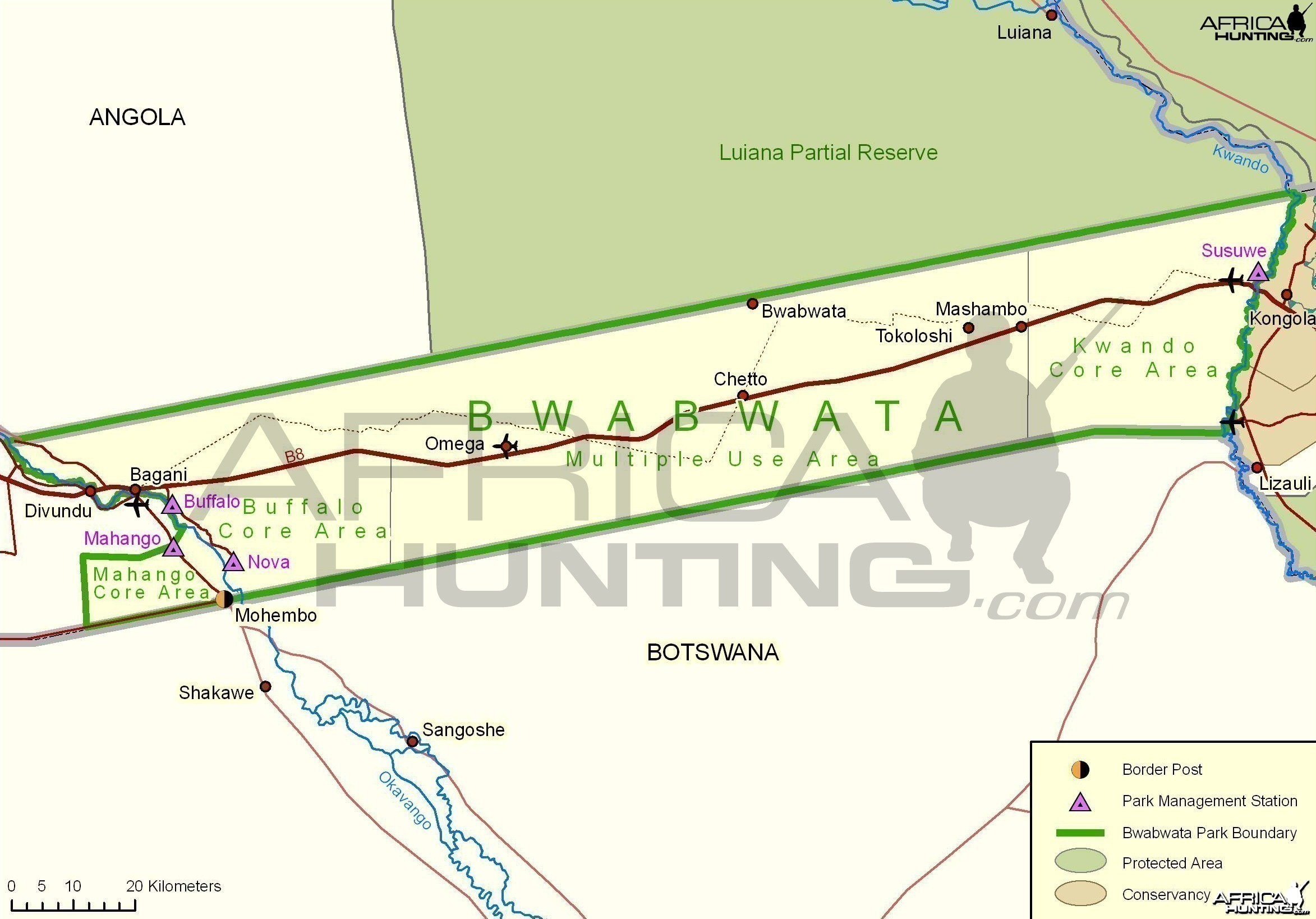 Bwabwata National Park Map, Namibia