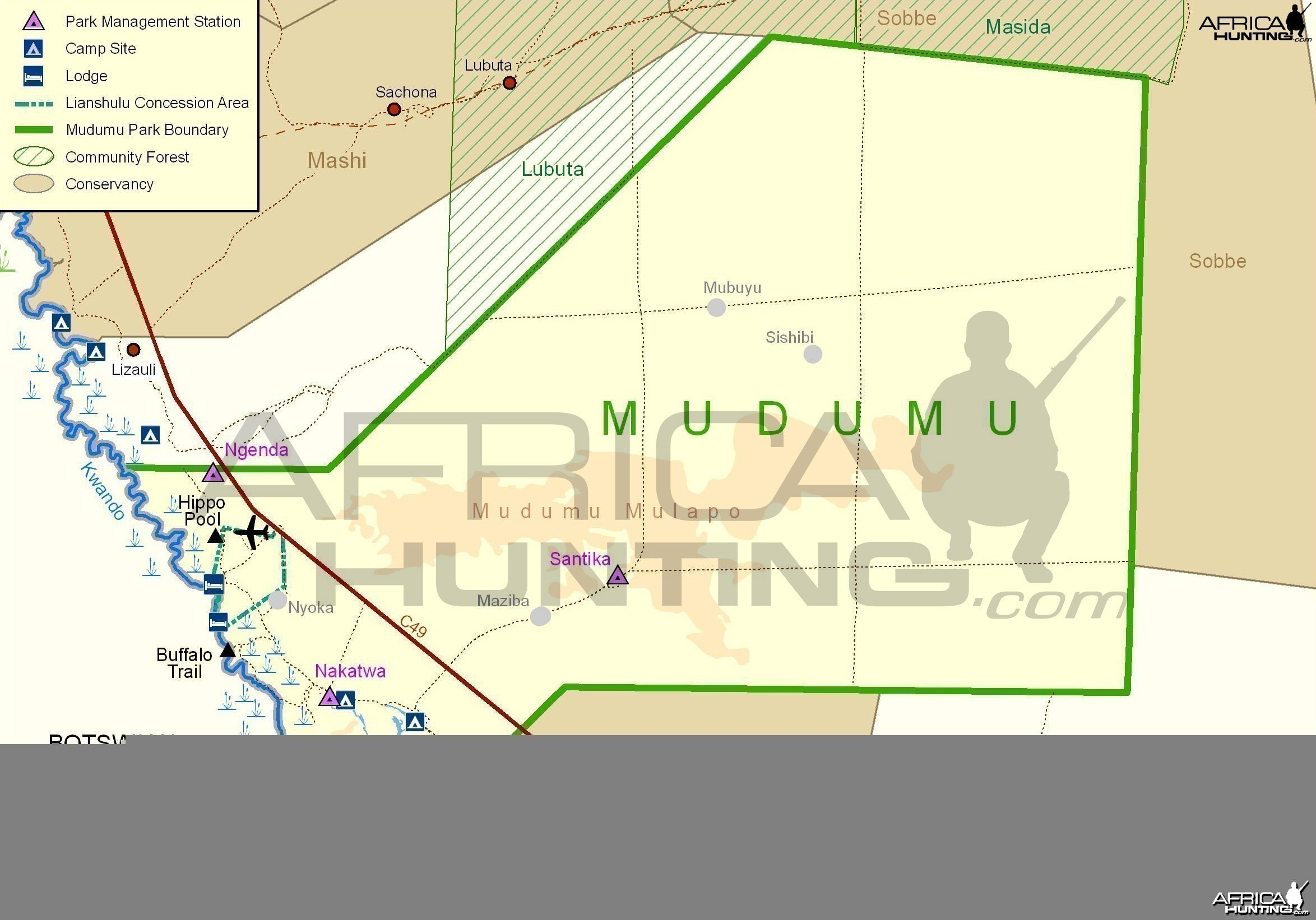 Mudumu National Park Map, Namibia