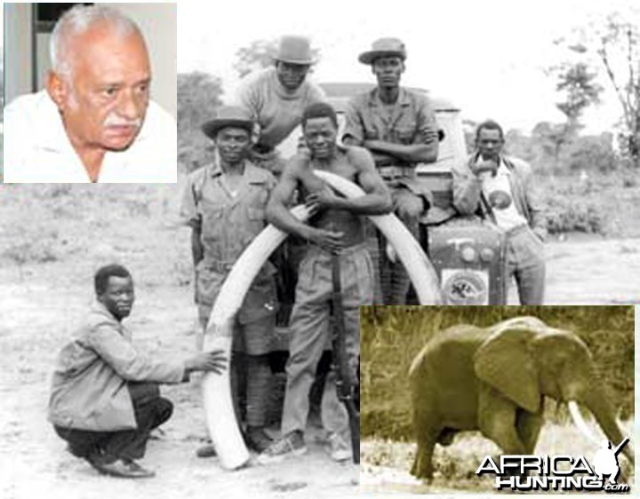 Zambia's most famous poacher of all time Cyrus Kulanga with Elephant tusks