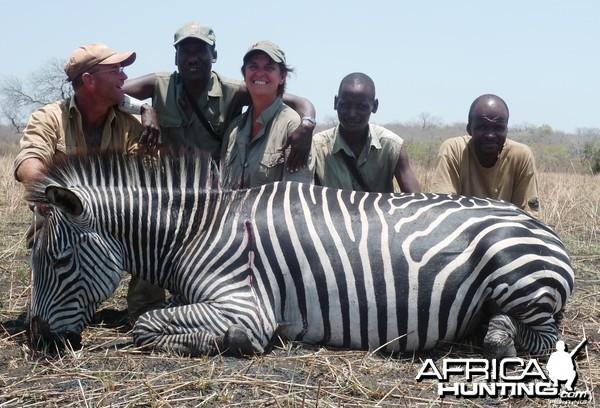 Zebra hunted in the Selous, Tanzania