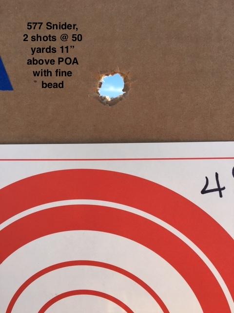 577 Snider target 50 yds 2 shots.JPG