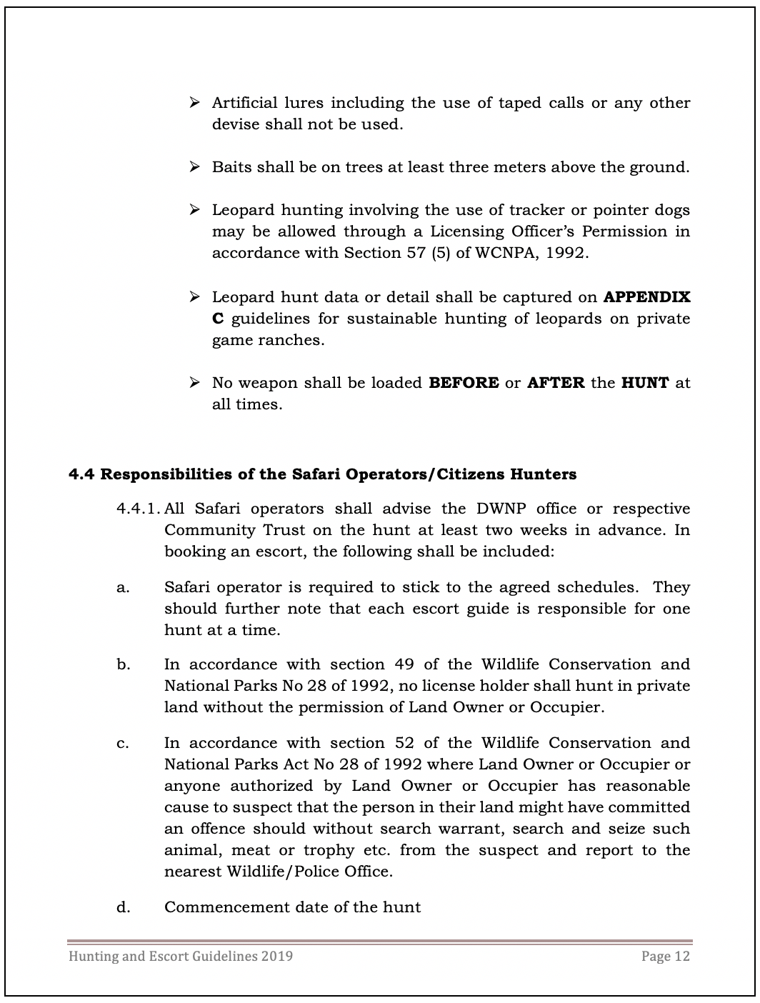 Botswana Hunting & Escort Guidelines July 2019   Hunting
