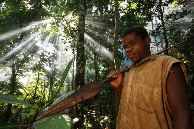 African pigmy hunter from the Baka tribe carying his broad blade spear in the deep jungles of Ca.jpg