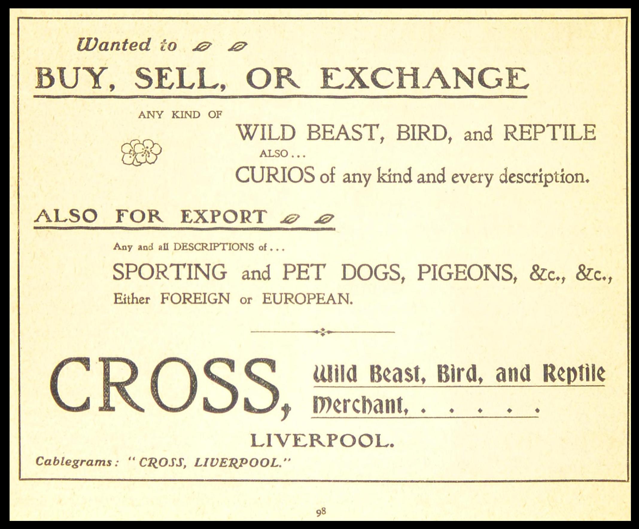 Cross, Wild Beast, Bird & Reptile Merchant Advertisement 1906.png
