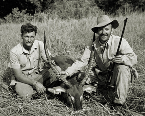 Harry Selby and Robert Ruark with a waterbuck.jpg