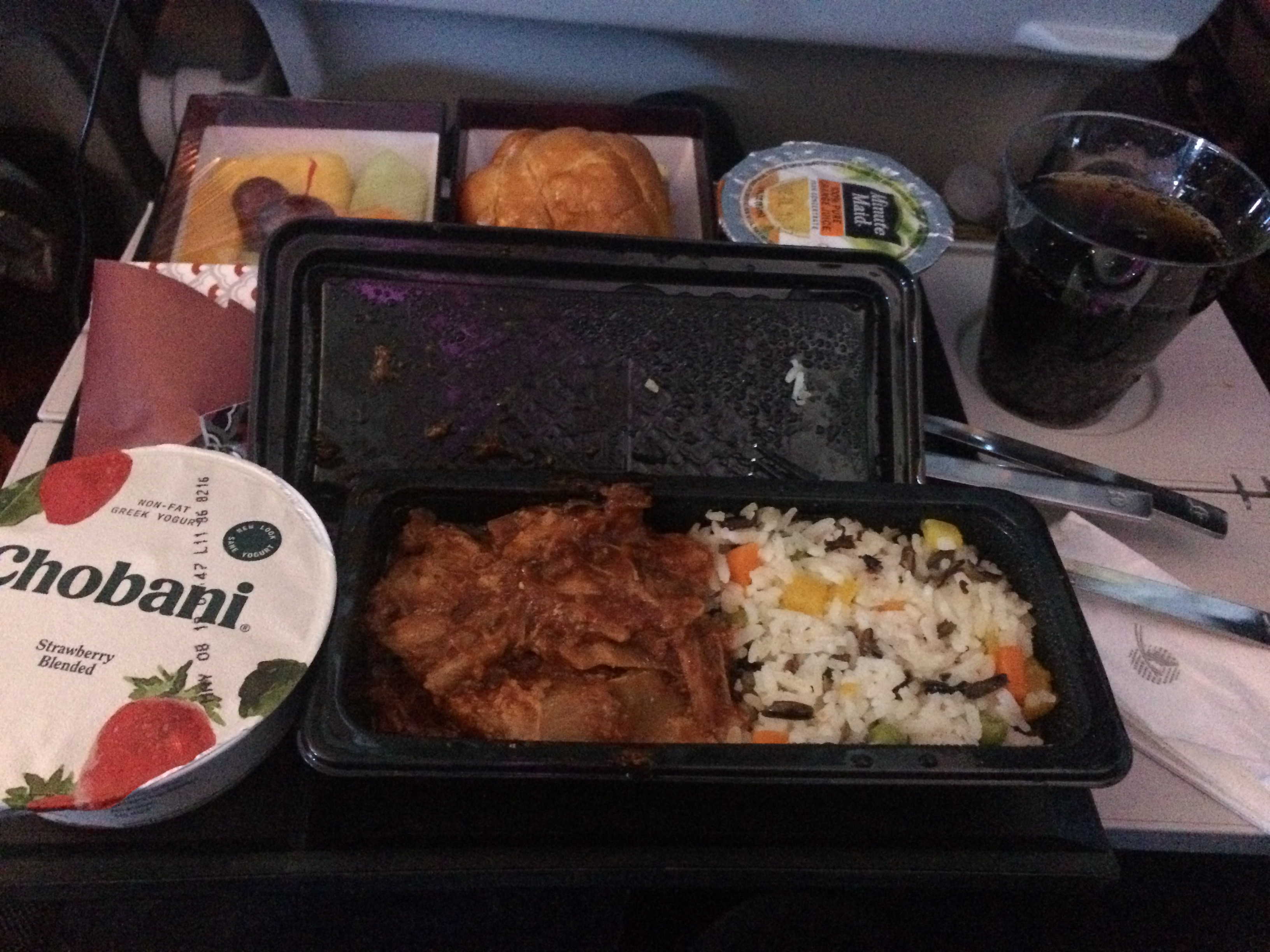qatar airways chicken tomato meal.JPG