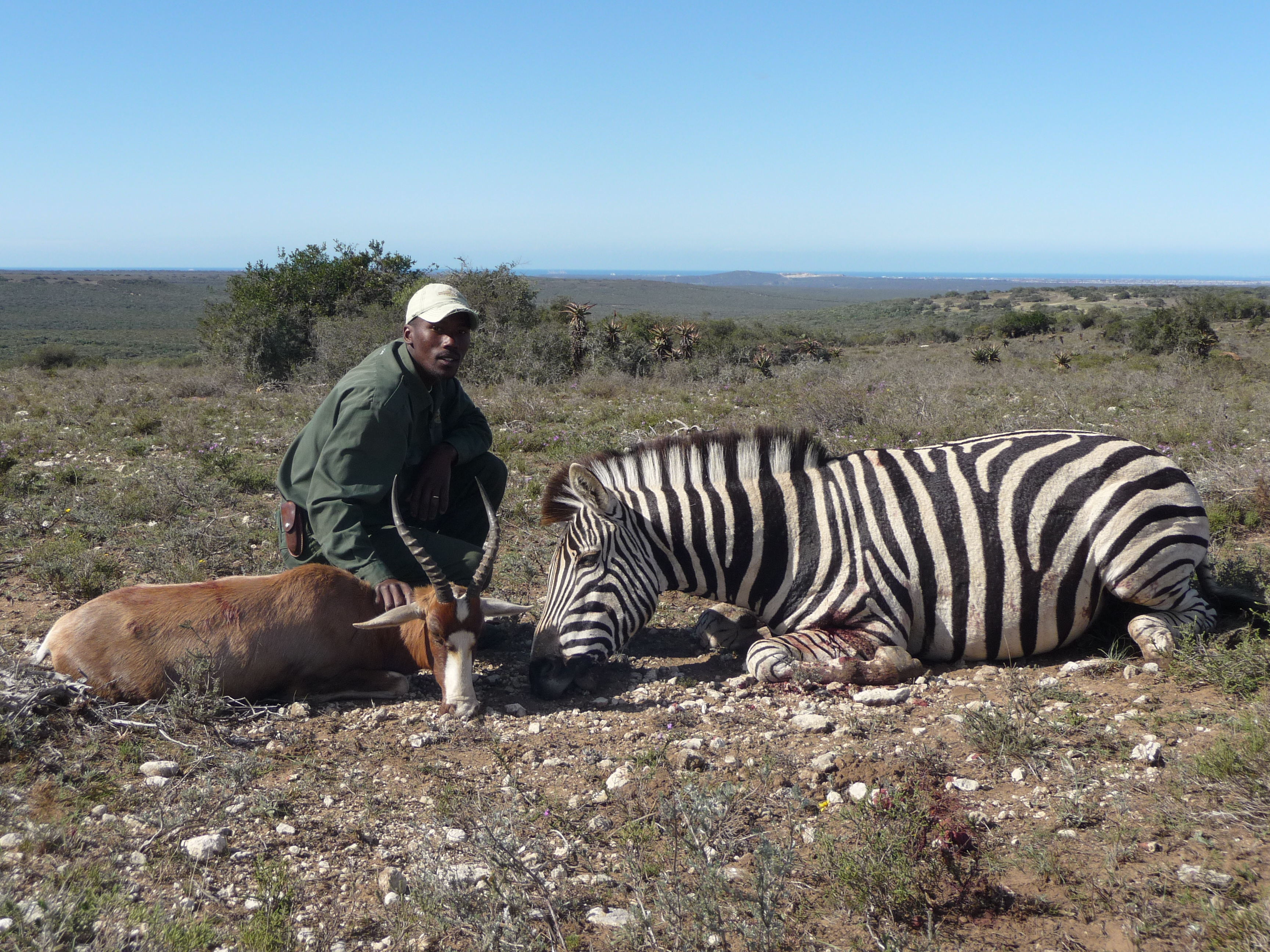 Simon my tracker with Zebra and Blesbuck killed with the same bullet.JPG