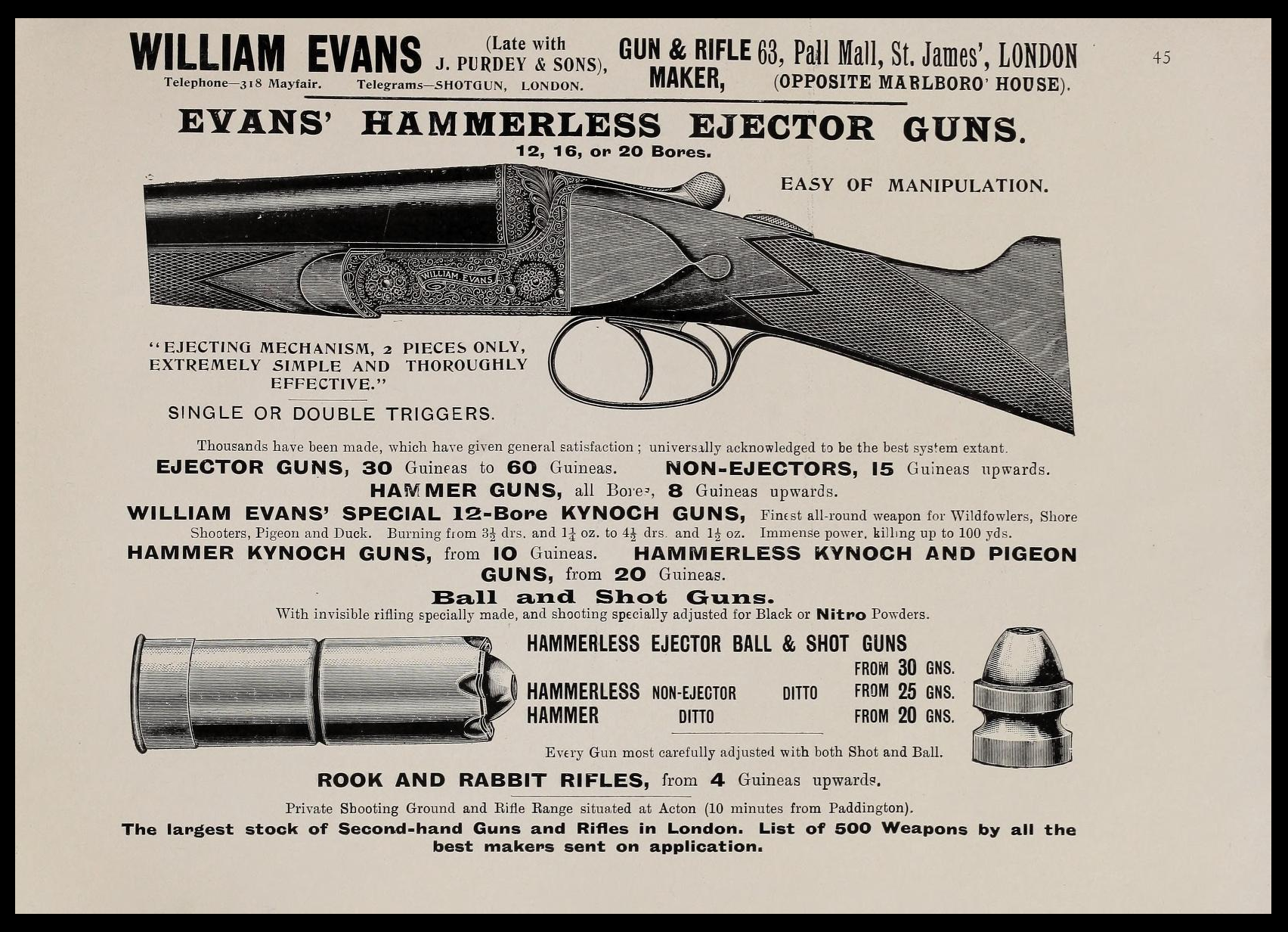 William Evans Firearm Advertisement - 1905 #1.png