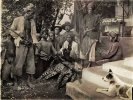 Spears, daggers and muskets after a Leopard hunt near Mount Bromo in East Java, 1912.jpg