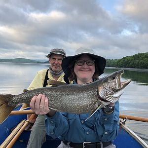 Mrs BeeMaa with her first Lake Trout from the Rondout Reservoir