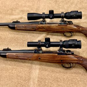 Pair of AHR hunting rifles in 375 H&H and 505 Gibbs