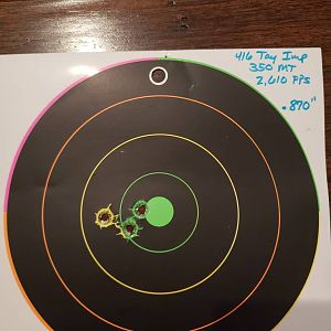 Tested loads in my 416 Taylor Imp