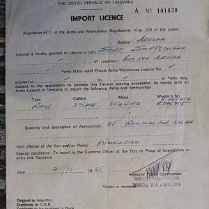 Old Import license for Tanzania in 1985