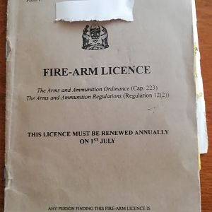 Old Kenyan Firearm Certificate