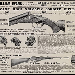 Old William Evans Cordite Rifle Advertisement