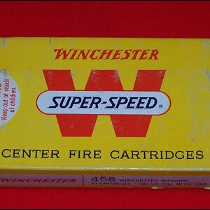 Pre 1972 Box Of Winchester Super Speed 510 grain Soft Nosed Factory Loads For The .458 Winchester Magnum