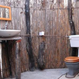 Flush toilet behind each tent at camp in the Caprivi Namibia