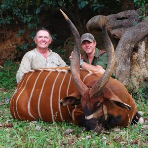 36 inch bongo hunted in CAR with Central African Wildlife Adventures