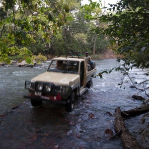 Land Cruiser crossing wide river in CAR