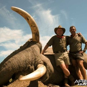 104 pounds tusker with Johan Calitz Safaris in Botswana - PH Willy McDonald