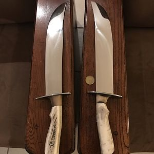 Handmade Matched Pair of Bowie Knives
