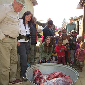 Family safari: delivering meat and other desperately needed items to a poor community.