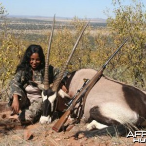 My wife with her Oryx in Namibia