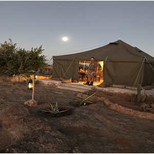 Great moonrise over camp and my friend Ruan
