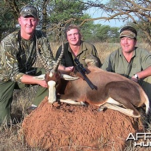 Myself, Hardus, and Russ with my blesbok, South Africa