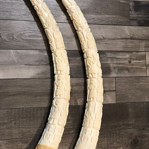 Two Pairs Of Ornate Carved African Elephant Tusks