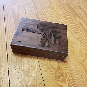 Elephant Scrimshaw Art Box