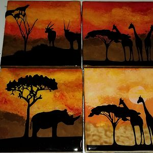 Hand Painted African Theme Coaster Sets