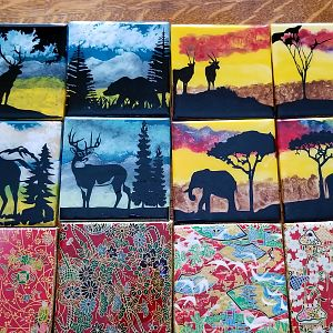 Hand Painted African & North American Theme Coaster Sets
