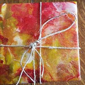 Hand Painted Orange, Red & Yellow Coaster Set