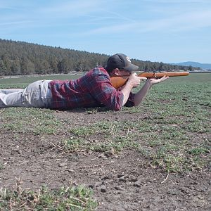 Here is a pic of me shooting the old gun.