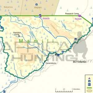 Mamili National Park Map, Namibia