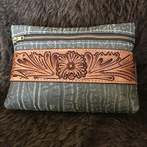Makeup Pouch made out of Cape Buffalo Leather