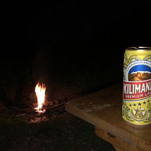 Relaxing at camp with a local Beer