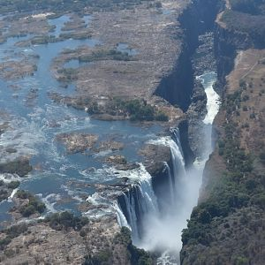 View of Victoria Falls from helicopter in Zimbabwe