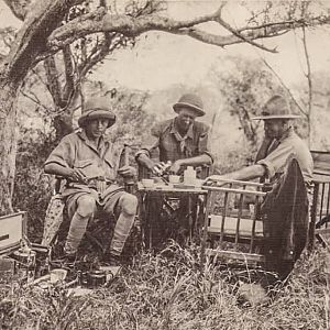 G&T break in between hunting during the Golden Age of the African Safaris