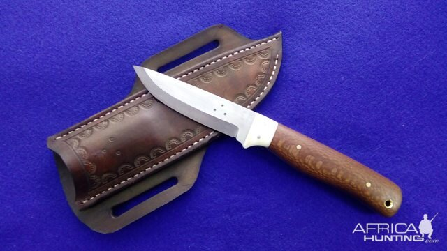 Bushcraft Hunter Knife with Giraffe bone & Leopard wood