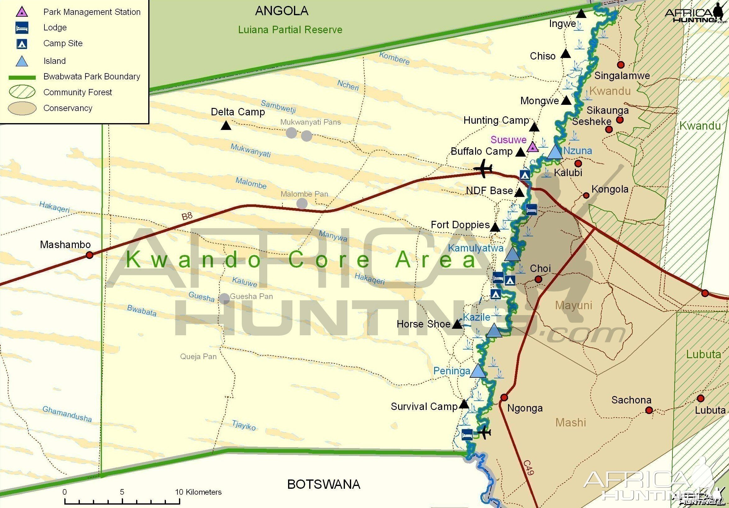 Bwabwata Kwando Core Area Map, Namibia | Hunting on the jungle in africa on map, africa climate map, atlas mountains africa physical map,