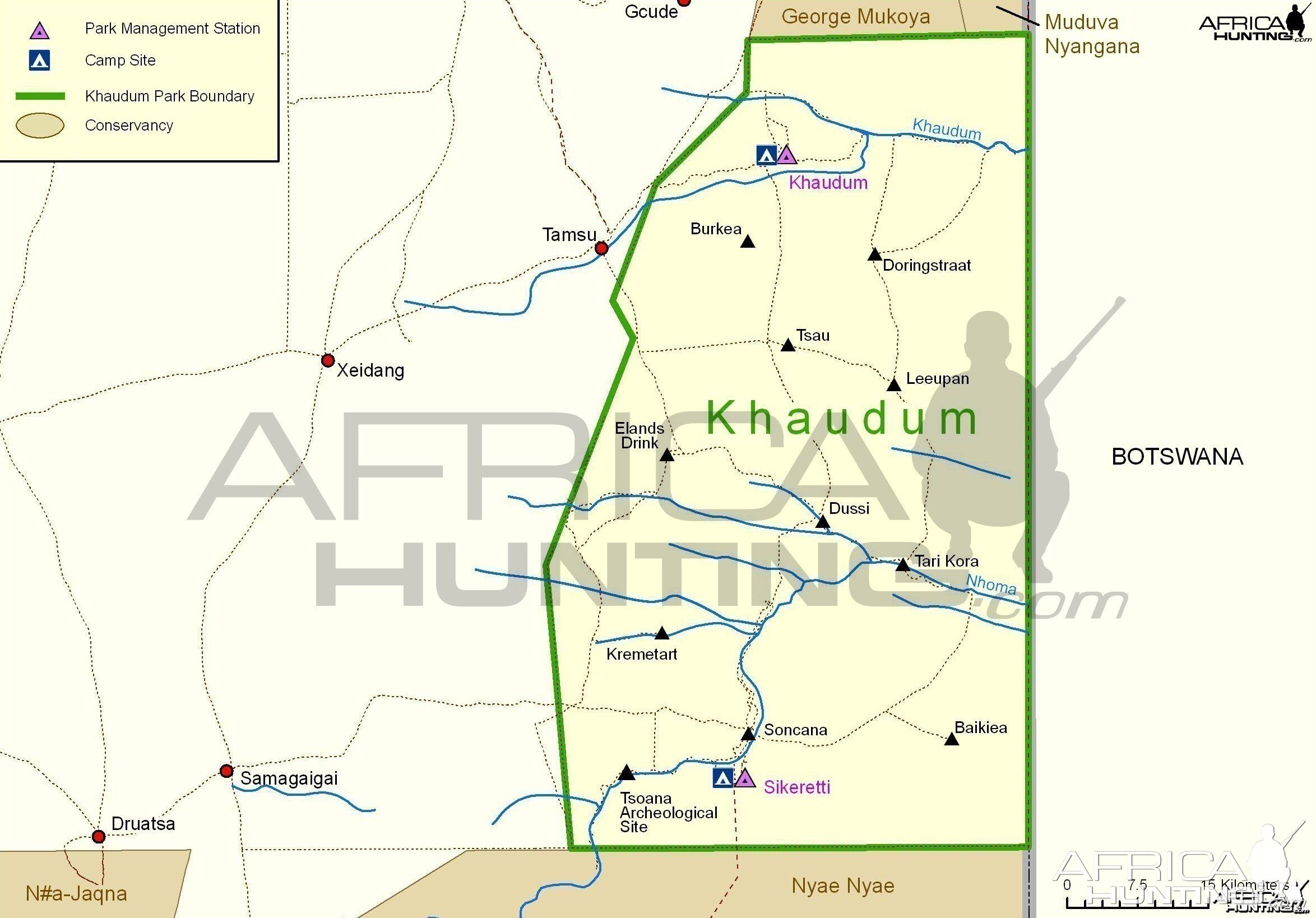Khaudum National Park Map, Namibia | Hunting on the jungle in africa on map, africa climate map, atlas mountains africa physical map,
