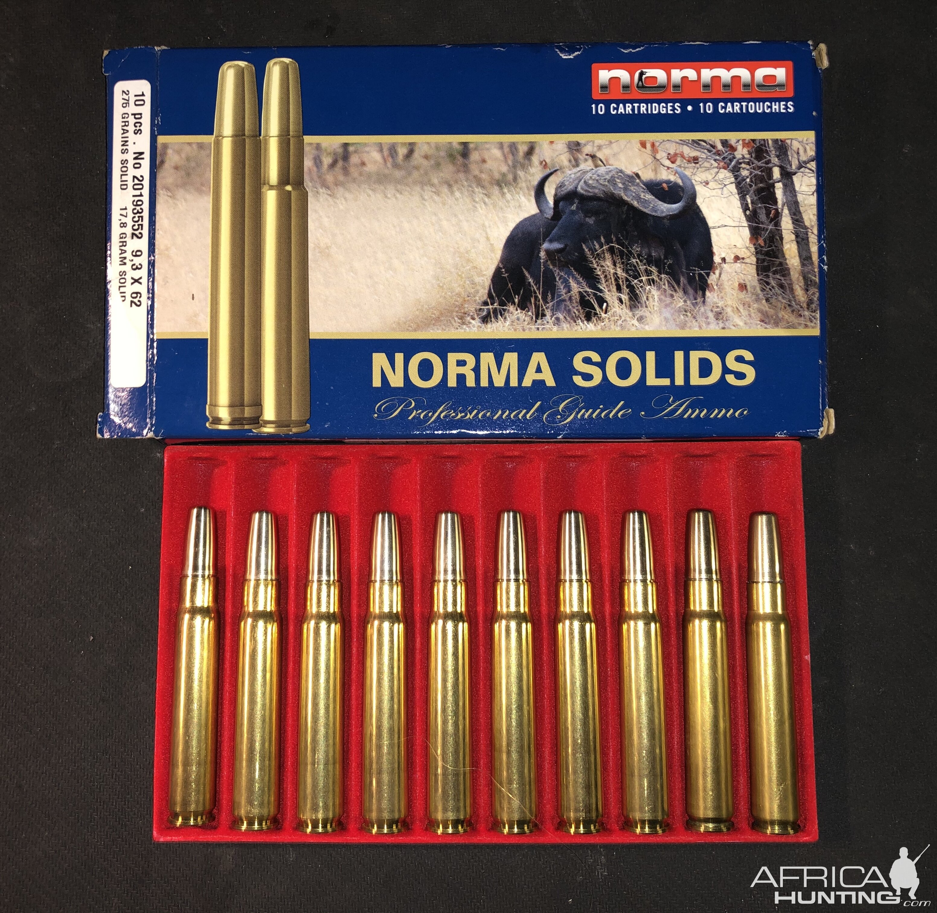 Norma factory 275 solids for the 9.3x62 Professional guide ammo