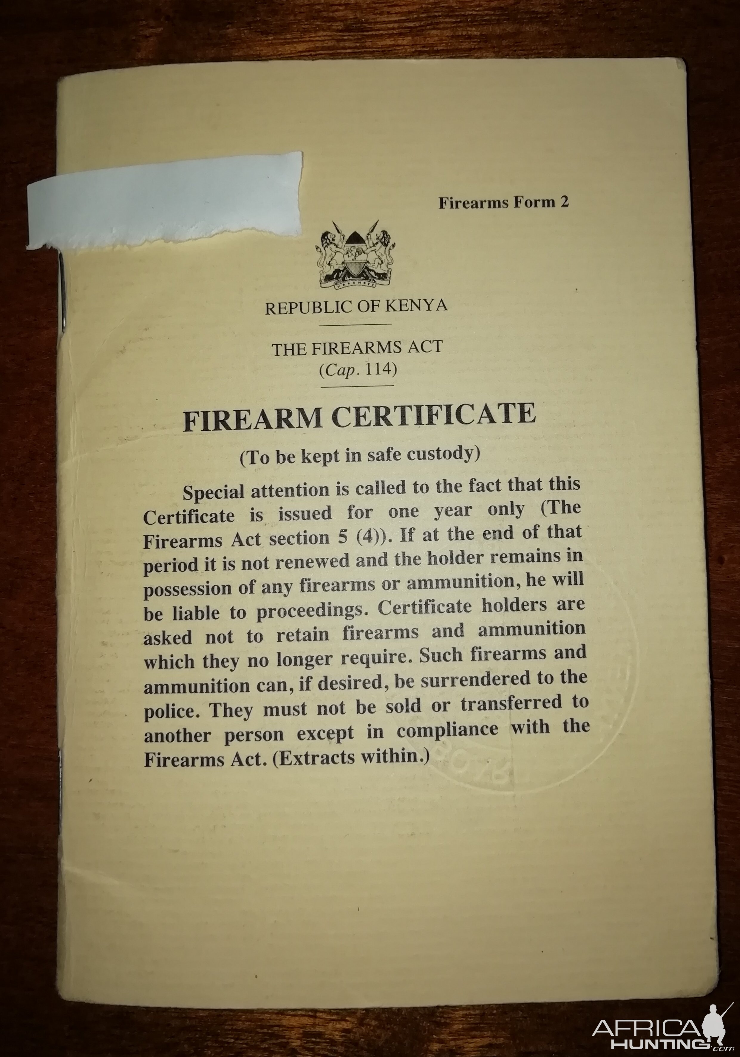 Old Tanzanian Firearm Certificate