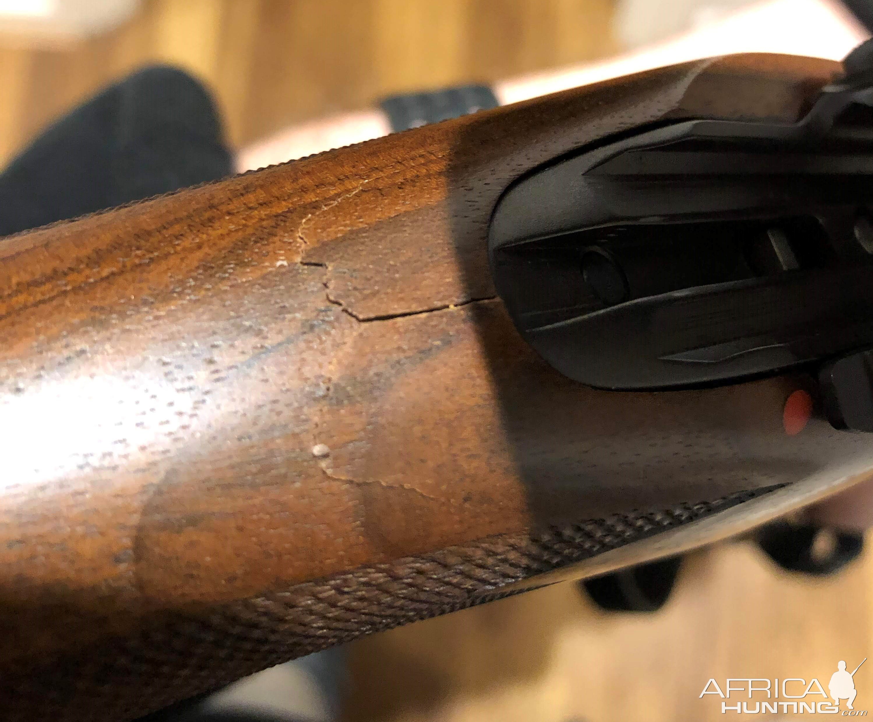 Sako cracked Walnut stock (too close to my face for comfort)